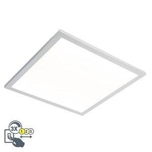 Čtvercové stropní svítidlo chrom 45 cm vč. LED IP44 - ploché