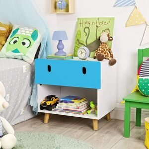 Dětský noční stolek modrobílý 50 x 48 x 35 cm