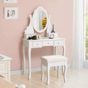 Toaletní stolek oválné zrcadlo bílý 80 x 142 x 40 cm