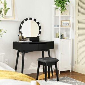 Toaletní stolek s kulatým zrcadlem a osvětlením černý
