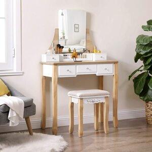 Toaletní stolek dub bílý 80 x 137 x 40 cm