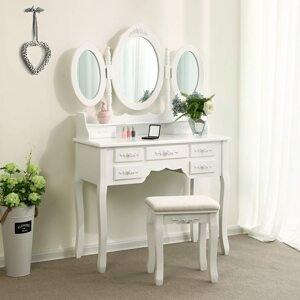 Toaletní stolek 3 oválná zrcadla bílý 90 x 146 x 40 cm