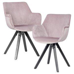 Jídelní Židle S Područkou Esszimmerstuhl Růžová 2ks/sada