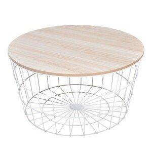 Sconto Odkládací stolek RAMONA bílá/přírodní
