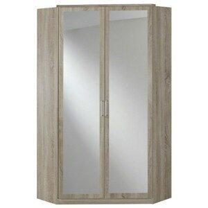 Sconto Rohová šatní skříň CLICK 543 dub sägerau/zrcadlo
