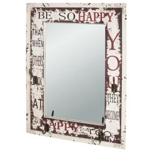 Sconto Zrcadlo s věšáčky ANOEL bílá/vintage