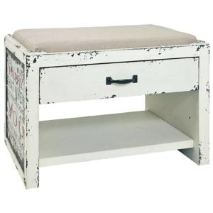 Sconto Odkládací lavice ANOEL bílá/vintage