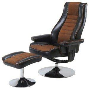 Sconto Relaxační křeslo s taburetem HILDERS hnědá/černá