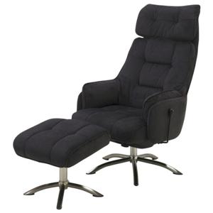 Sconto Relaxační křeslo s taburetem BREMEN černá