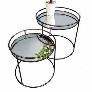 Sconto Přístavné stolky HUNTER černá/zrcadlo, 2 ks