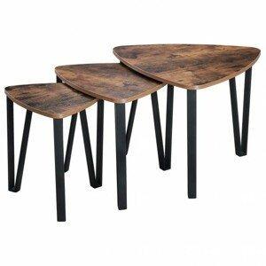 Sconto Přístavné stolky ISMERE černá/hnědá, 3 ks