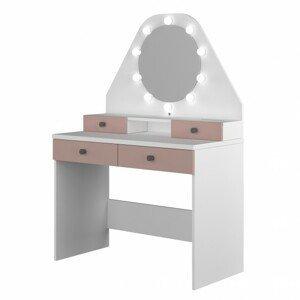Sconto Toaletní stolek STARLET starorůžová/bílá