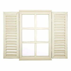 Bílé zrcadlo Esschert Design Window, 59 x 39 cm