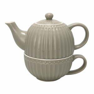 Šedá konvice na čaj s hrnkem Green Gate Alice