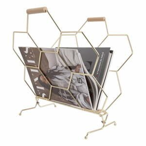 Kovový stojan na časopisy ve zlaté barvě PT LIVING Honeycomb