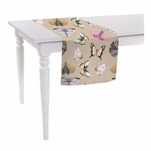 Béžový běhoun na stůl Mike & Co. NEW YORK Butterflies,140x40cm