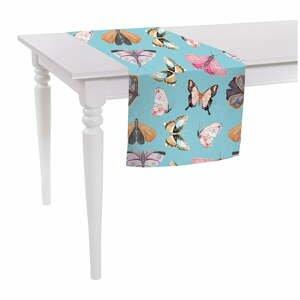 Modrý běhoun na stůl Mike & Co. NEW YORK Butterflies,140 x40cm