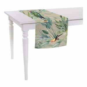 Béžový běhoun na stůl Mike & Co. NEW YORK Jungle Birds,140x40 cm