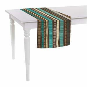 Hnědý běhoun na stůl Mike & Co. NEW YORK Jungle Stripes,140x40cm