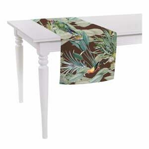 Hnědý běhoun na stůl Mike & Co. NEW YORK Jungle Birds,140x40cm