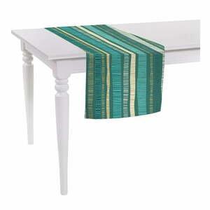 Zelený běhoun na stůl Mike & Co. NEW YORK Jungle Stripes,140x40cm