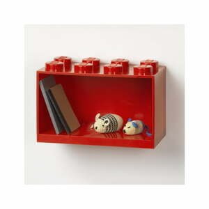 Dětská červená nástěnná police LEGO® Brick 8