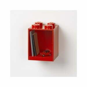 Dětská červená nástěnná police LEGO® Brick 4