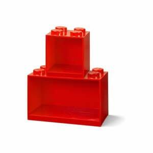 Sada 2 dětských červených nástěnných polic LEGO® Brick