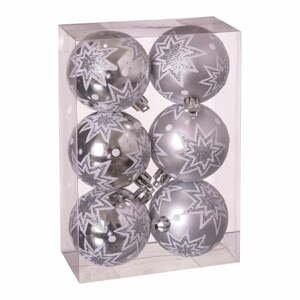 Sada 6 vánočních ozdob ve stříbrné barvě Unimasa Estrellas, ø 5 cm