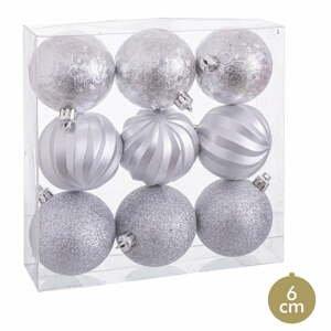 Sada 9 vánočních ozdob ve stříbrné barvě Unimasa, ø 6 cm