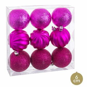 Sada 9 vánočních ozdob v fuchsiově růžové barvě Unimasa, ø 6 cm