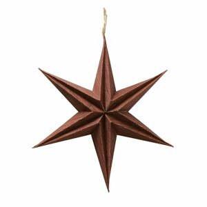 Hnědá vánoční papírová závěsná dekorace ve tvaru hvězdy Boltze Kassia, ø 20 cm