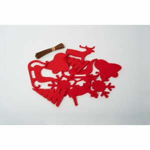 Sada 10 červených filcových vánočních dekorací Spira Medium