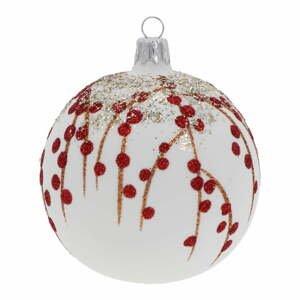 Sada 3 bílo-červených skleněných vánočních ozdob Ego Dekor