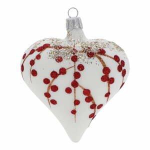 Sada 3 bílo-červených skleněných vánočních ozdob Ego Dekor Heart