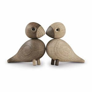 Sada 2 sošek z masivního dubového dřeva Kay Bojesen Denmark Lovebirds
