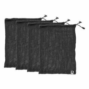 Sada 4 černých svačinových sáčků z recyklované bavlny Ladelle Eco,30x40cm
