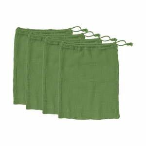 Sada 4 zelených svačinových sáčků z recyklované bavlny Ladelle Eco,30x40 cm