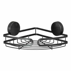 Černá rohová police do koupelny Wenko Static-Loc® Pavia, šířka 27 cm