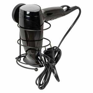 Černý nástěnný držák na fén Wenko Vacuum-Loc® Milazzo