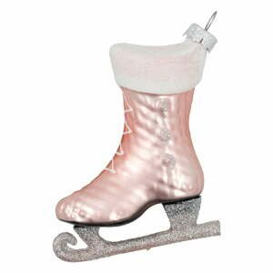 Růžová skleněná vánoční ozdoba Green Gate Ice Skate