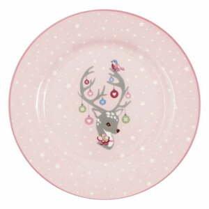Růžový dětský kameninový talíř Green Gate Dina,ø20cm