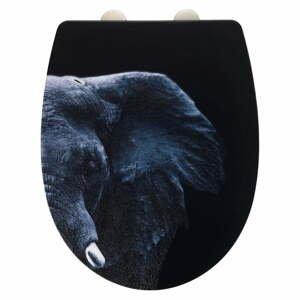 Černé WC sedátko z nerezové oceli Wenko Elephant