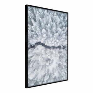 Plakát v rámu Artgeist Winter Forest From a Bird's Eye View, 30 x 45 cm