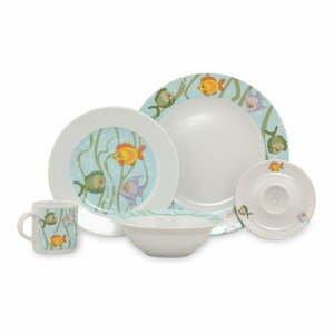 5dílný dětský porcelánový jídelní set Kütahya Porselen Sea World