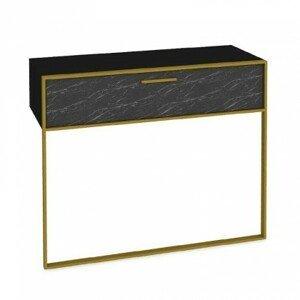 Konzolový stolek moser (černý mramor, zlatá)
