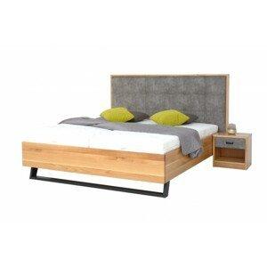 Masivní postel leon 180x200, dub, včetně matrace, roštu a úp